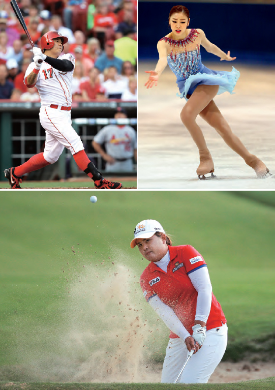(Clockwise from top right) Shin-soo Choo is an outfielder for the Texas Rangers of the Major League Baseball of the United States. Yuna Kim won the World Figure Skating Championships in 2013. In-bee Park was selected as the LPGA Player of the Year in 2013.